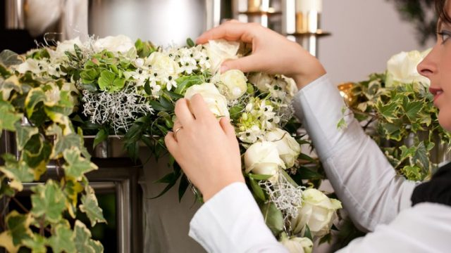 Preparing flowers for the Funeral