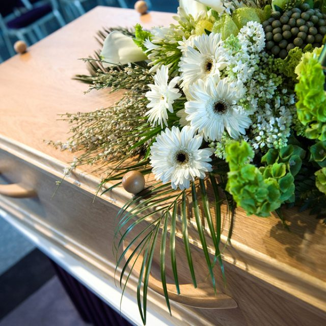 Flower arrangement at a mortuary